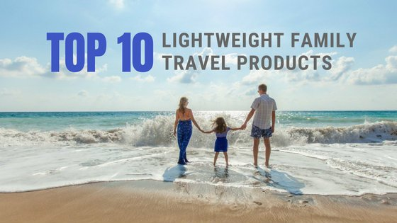 Top 10 Lightweight Family Travel Products. Photo of family playing on the beach.
